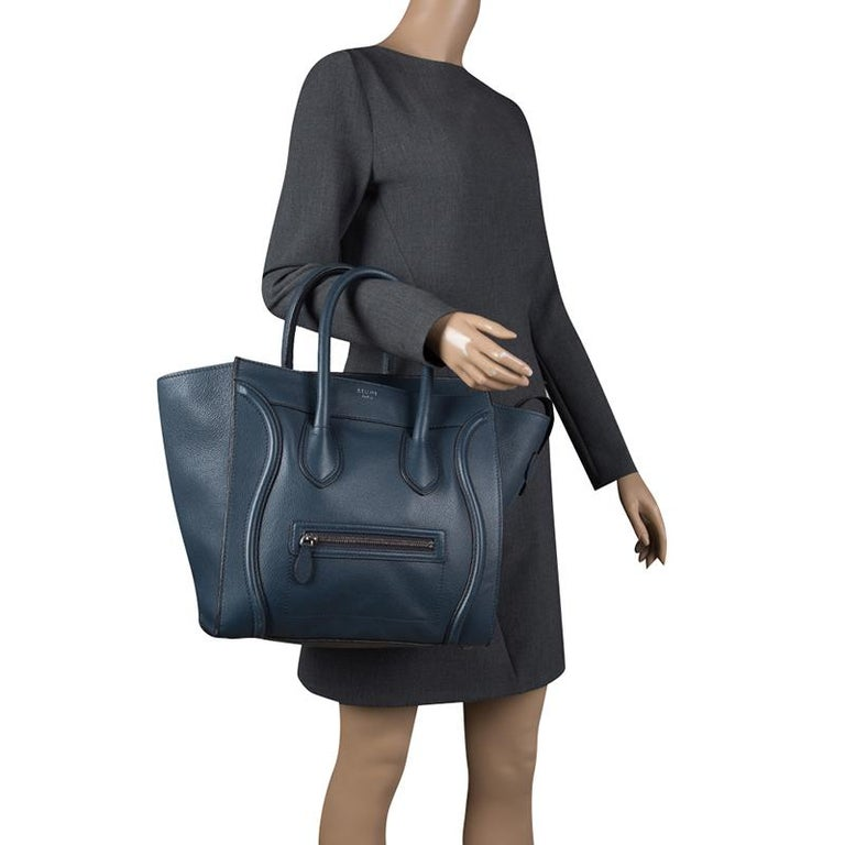 Black Celine Navy Blue Leather Mini Luggage Tote For Sale