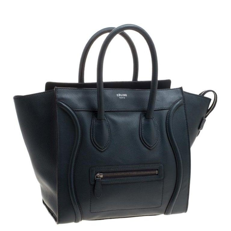 Celine Navy Blue Leather Mini Luggage Tote In Good Condition For Sale In Dubai, Al Qouz 2