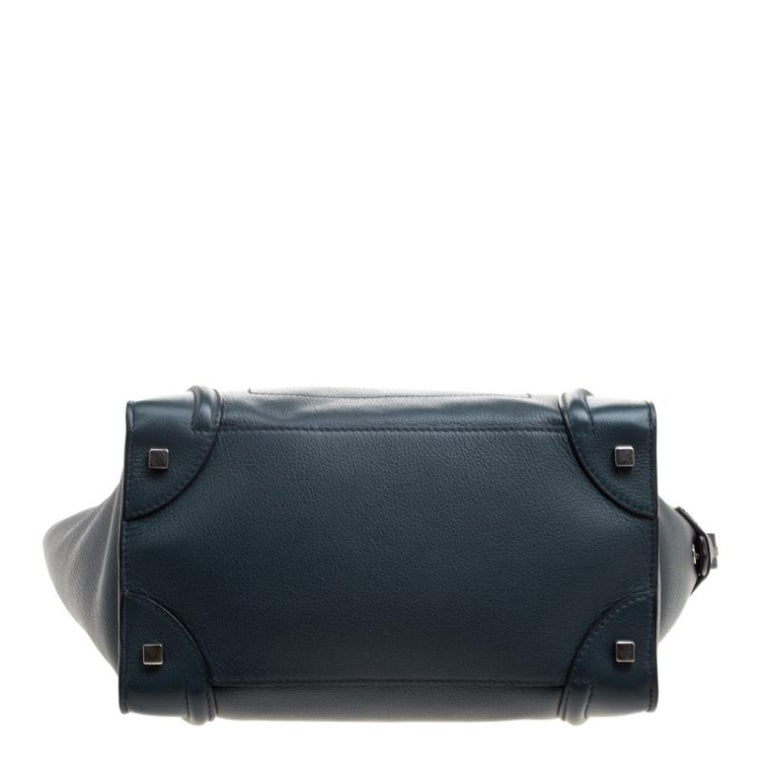 Women's Celine Navy Blue Leather Mini Luggage Tote For Sale