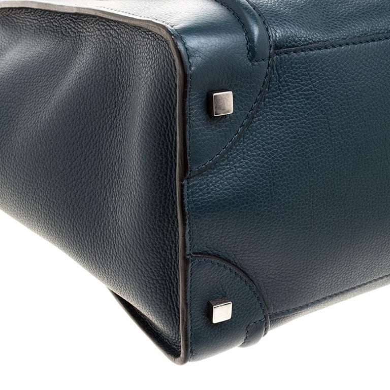 Celine Navy Blue Leather Mini Luggage Tote For Sale 2