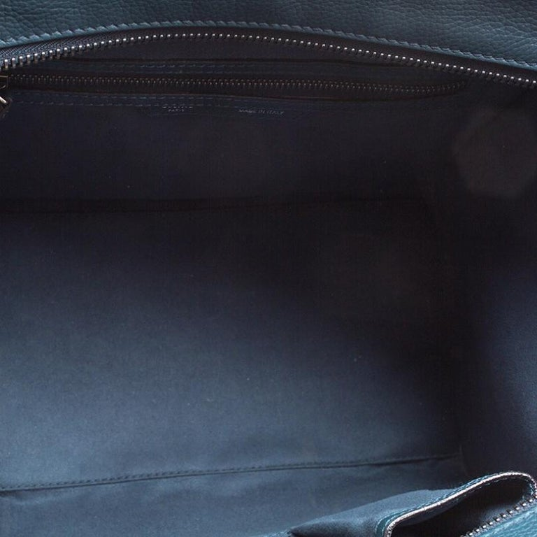 Celine Navy Blue Leather Mini Luggage Tote For Sale 3