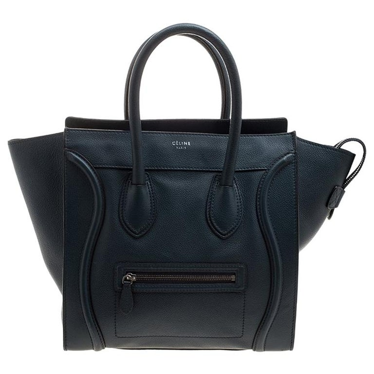 Celine Navy Blue Leather Mini Luggage Tote For Sale