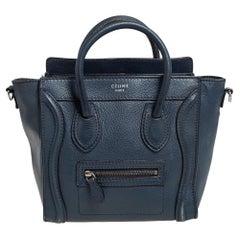 Céline Navy Blue Leather Nano Luggage Tote
