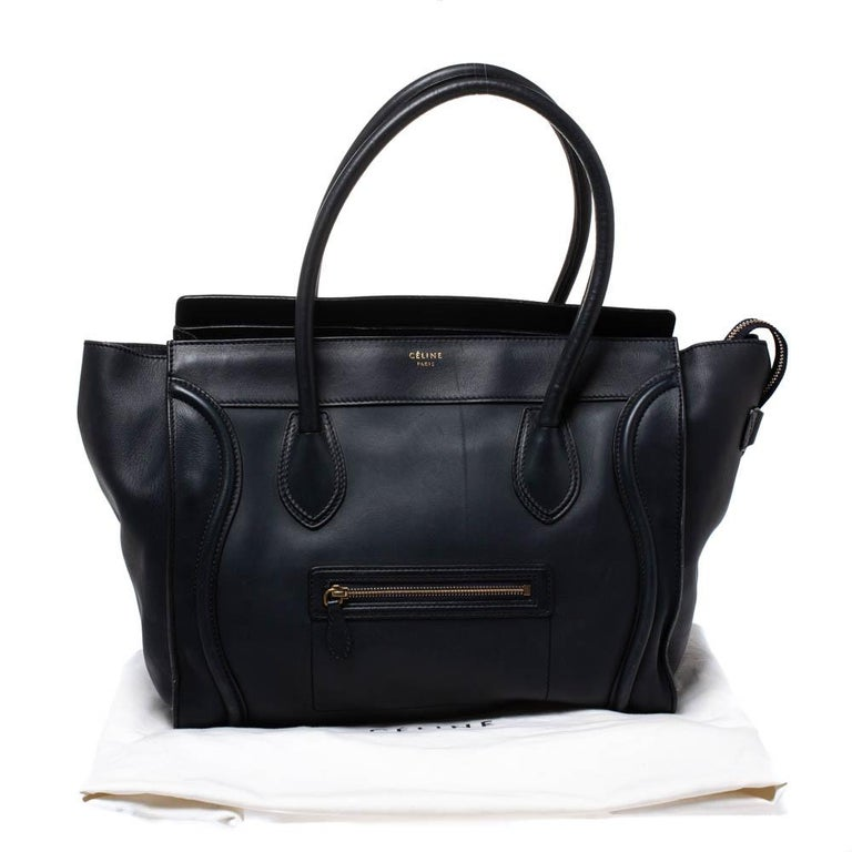 Celine Navy Blue Leather Shoulder Luggage Tote For Sale 7