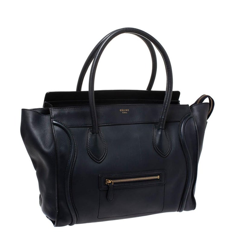 Women's Celine Navy Blue Leather Shoulder Luggage Tote For Sale