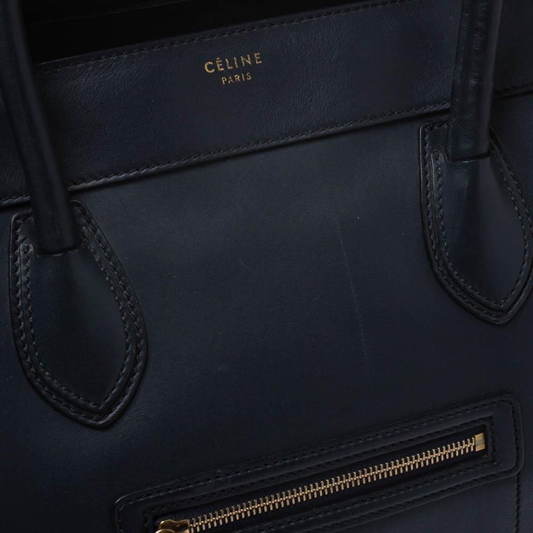 Celine Navy Blue Leather Shoulder Luggage Tote For Sale 4