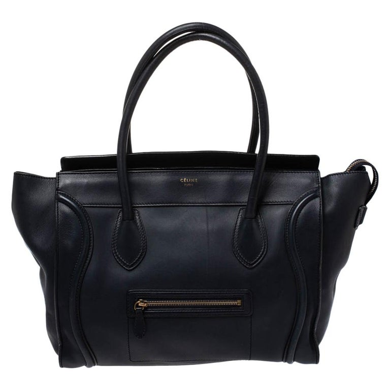 Celine Navy Blue Leather Shoulder Luggage Tote For Sale