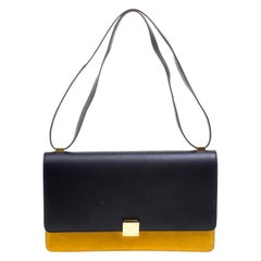 Celine Navy Blue/Yellow Leather Medium Case Bag