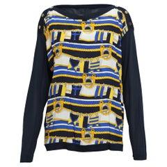 Celine Navy & Rope Print Silk Sweater