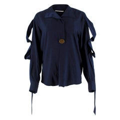 Celine Navy Silk Button Embellished Shirt 36