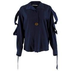 Celine Navy Silk Button Embellished Shirt - Size US 4