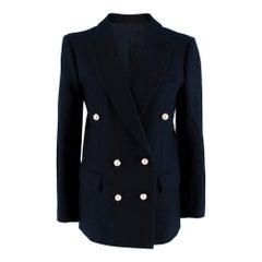 Celine Navy Wool Faux Pearl Blazer - Size US 6
