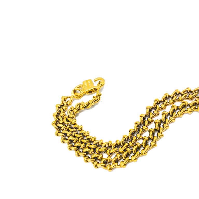 Celine Vintage 1980s Necklace  Detail -Made in Italy in the 1980s -Crafted from high quality gold plated metal -Chunky chain with small triomphe macadam logos  Size & Fit -Approx 35 inches in length  Authenticity & Condition  -Fully examined and
