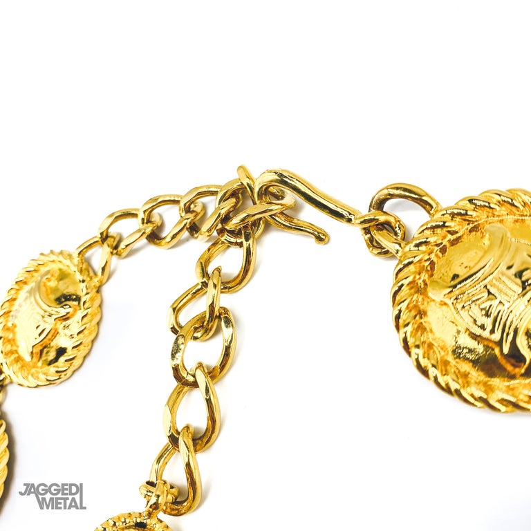 Celine Vintage Coin Necklace  An incredible and rare find from the 90s celine archive  Detail -Made in Italy in 1991 -Crafted from high quality gold plated metal -Constructed of 10 medallions featuring the Celine Macadam logo -An iconic globe