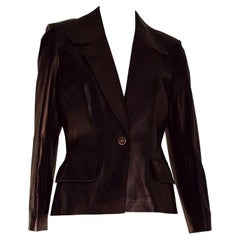 "CELINE ""New"" Black Light Bronze Tone Lambskin Leather Jacket - Unworn"