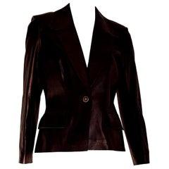 "CELINE ""New"" Black Light Bronze Tone Lambskin Leather Jacket - Unworn"