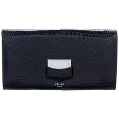 Celine NEW Black Lizard Exotic Skin Leather Silver Clutch Wallet in Box