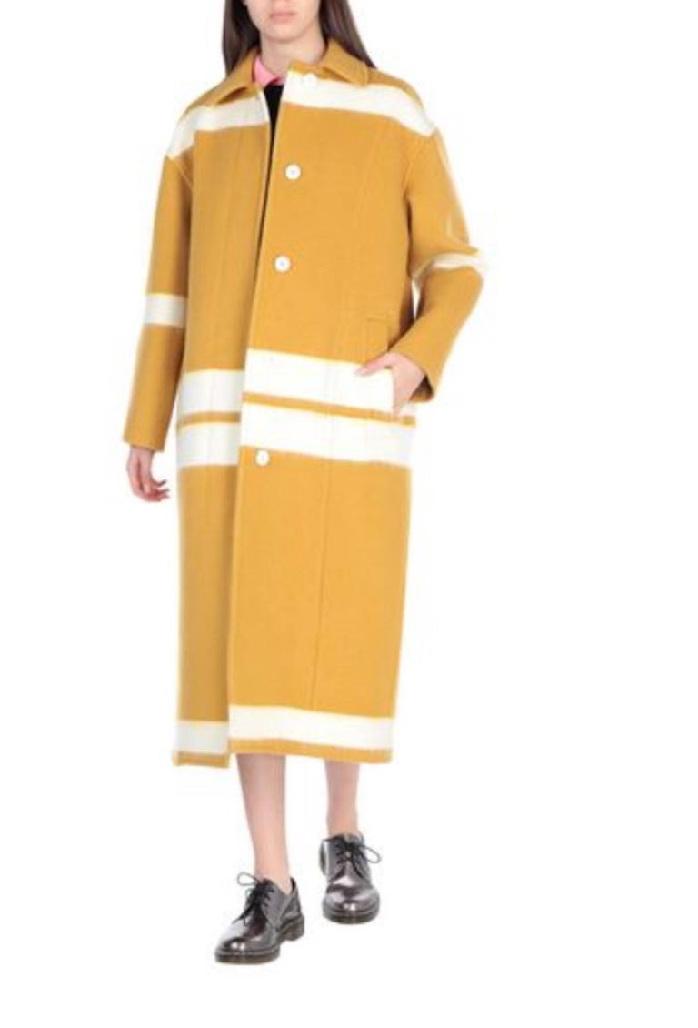 Celine NEW Mustard White Striped Oversize Wool Cashmere Winter Jacket Long Trench Pea Coat   Size FR 38 Wool and Cashmere belend Fully lined Button closure Total length 47