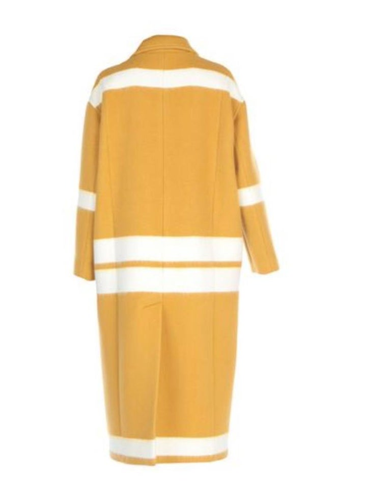 Yellow Celine NEW Mustard White Striped Oversize Wool Cashmere Long Trench PeaCoat  For Sale