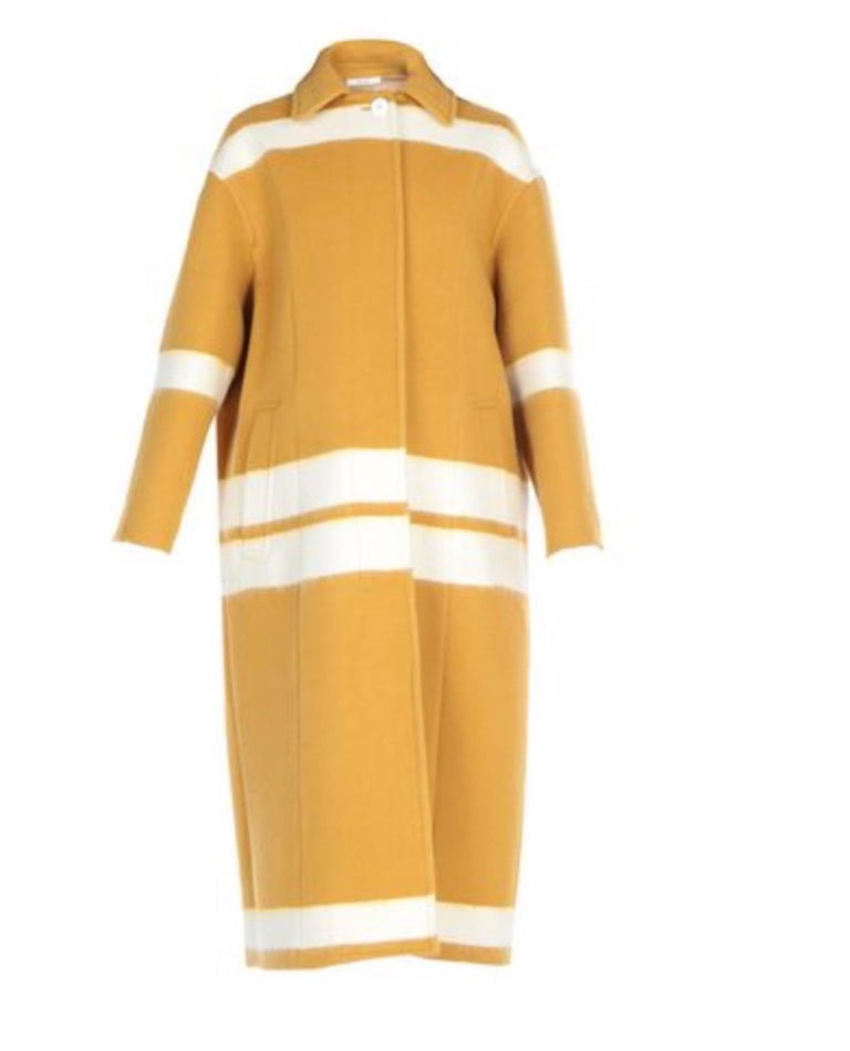Celine NEW Mustard White Striped Oversize Wool Cashmere Long Trench PeaCoat  In New Condition For Sale In Chicago, IL
