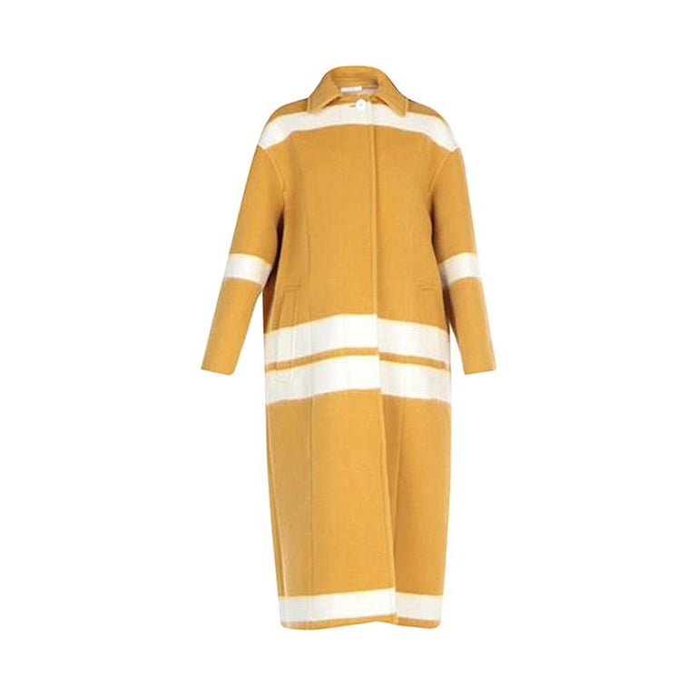 Celine NEW Mustard White Striped Oversize Wool Cashmere Long Trench PeaCoat  For Sale