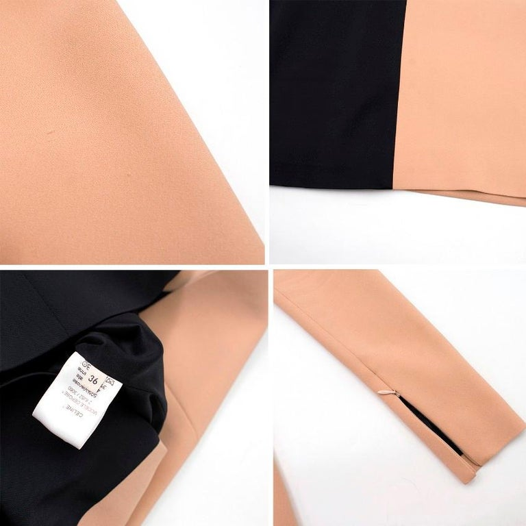 Celine Nude and Black Colour Block Mini Dress US 4 5