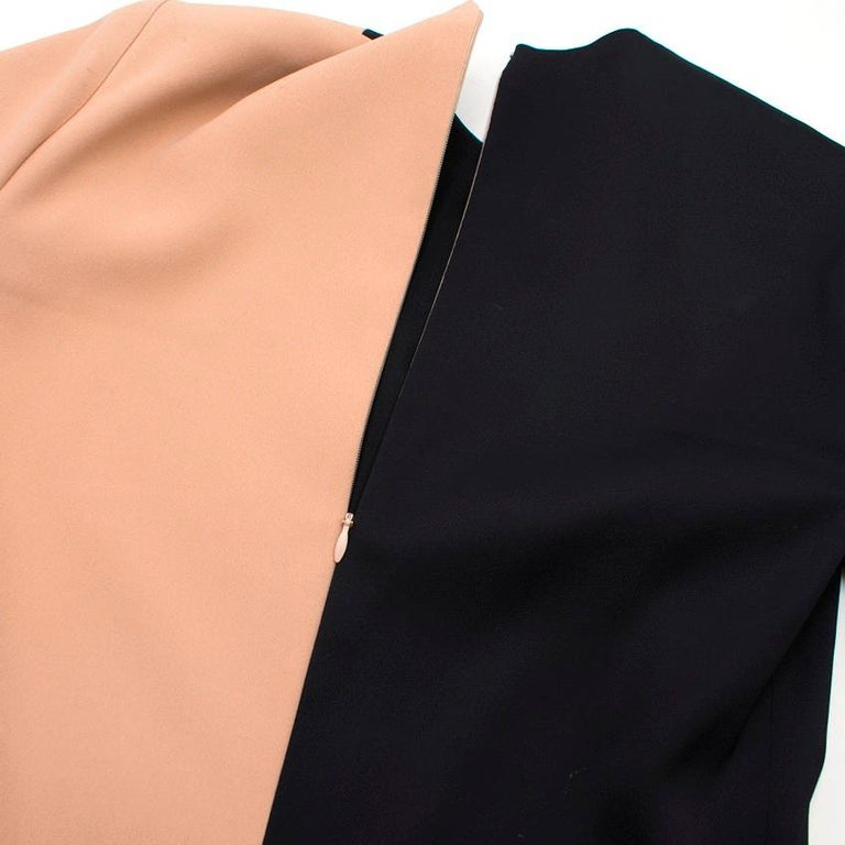 Celine Nude and Black Colour Block Mini Dress US 4 In Good Condition In London, GB