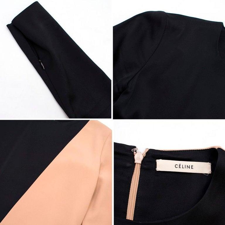 Celine Nude and Black Colour Block Mini Dress US 4 4