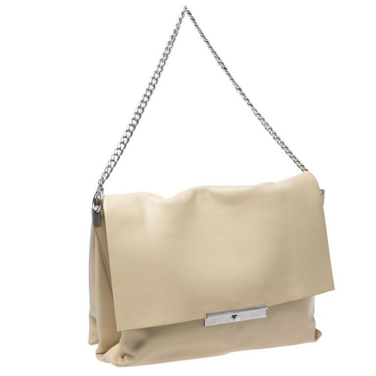 Beige Celine Nude Leather Blade Chain Shoulder Bag For Sale