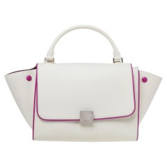 Celine Off White/Fuchsia Leather Small Trapeze Bag