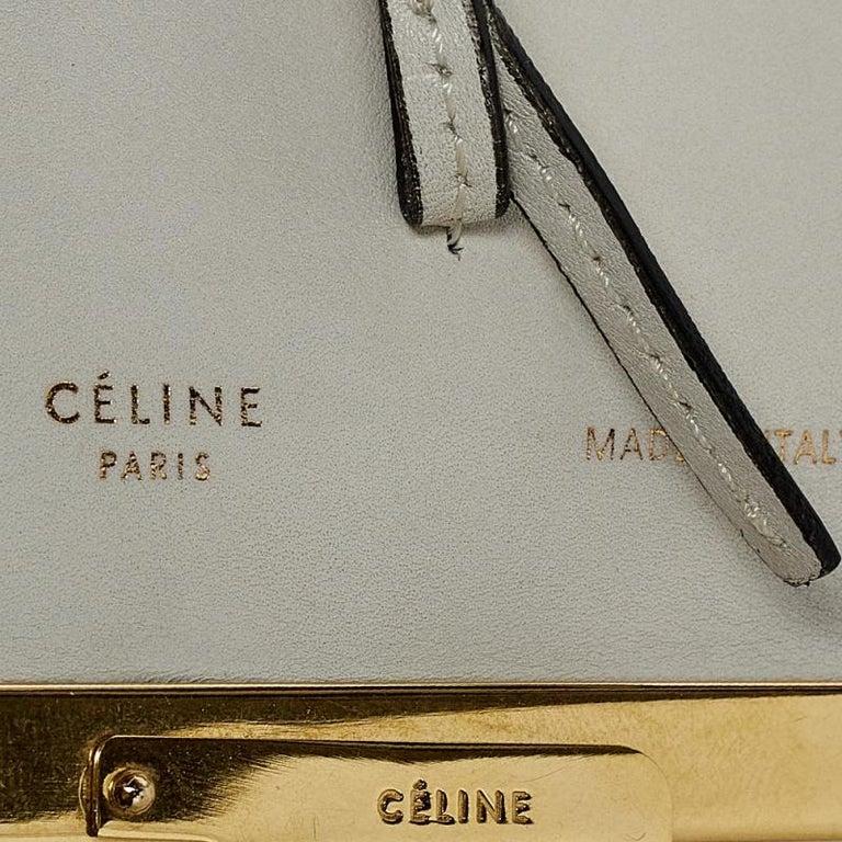Celine Off White Leather Clasp Flap Shoulder Bag For Sale 5