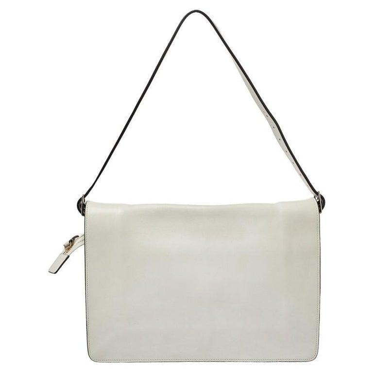 Celine Off White Leather Clasp Flap Shoulder Bag For Sale 7