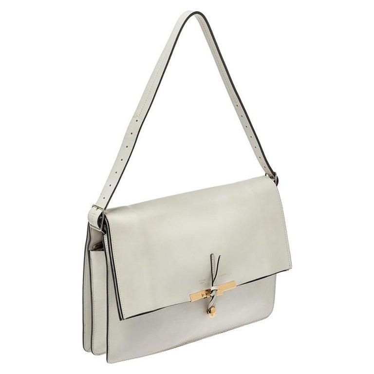 Gray Celine Off White Leather Clasp Flap Shoulder Bag For Sale