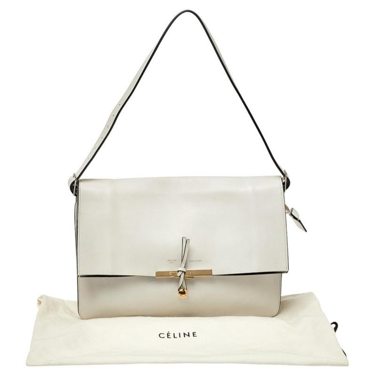 Women's Celine Off White Leather Clasp Flap Shoulder Bag For Sale