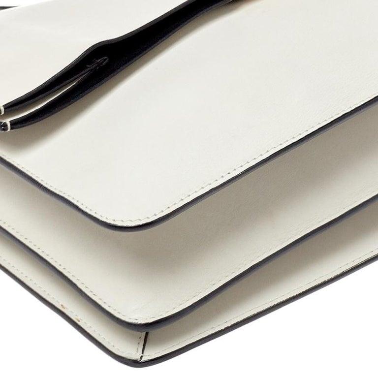 Celine Off White Leather Clasp Flap Shoulder Bag For Sale 1