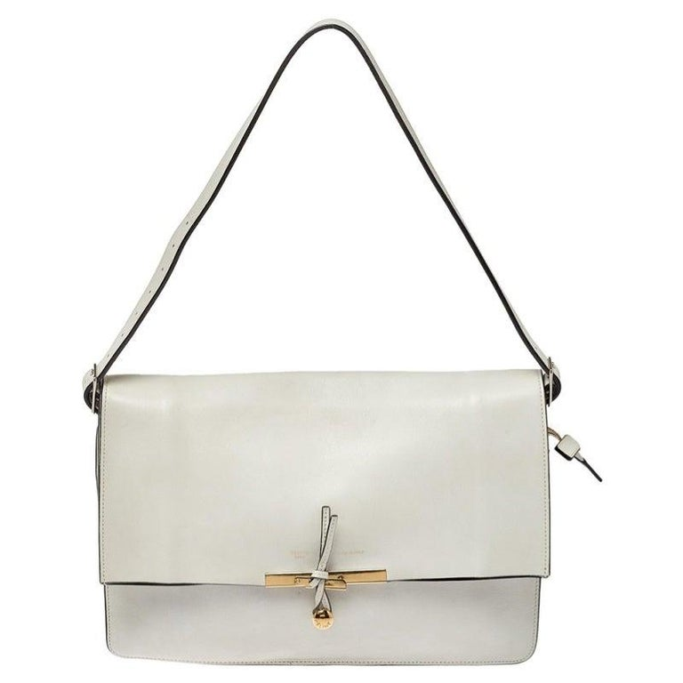 Celine Off White Leather Clasp Flap Shoulder Bag For Sale
