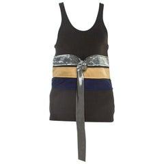 Celine Olive Green Knit Satin Belt Trim Racer Back Tank Top S