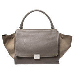 Celine Olive Green Leather and Suede Medium Trapeze Bag