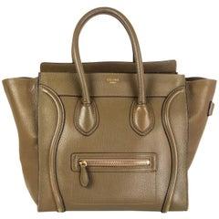 CELINE olive green leather MINI LUGGAGE TOTE Bag