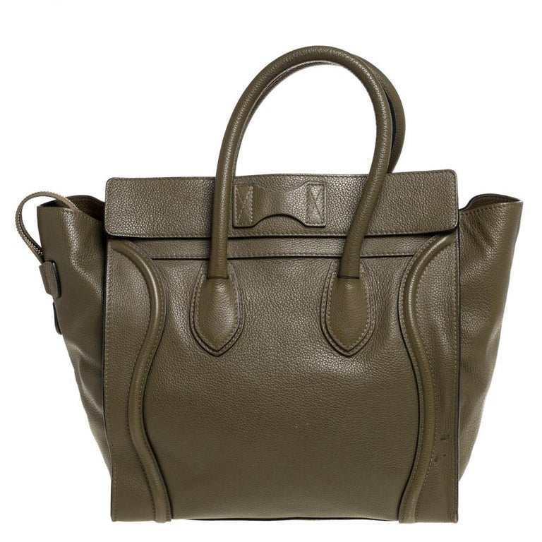 Celine Olive Green Leather Mini Luggage Tote For Sale 7