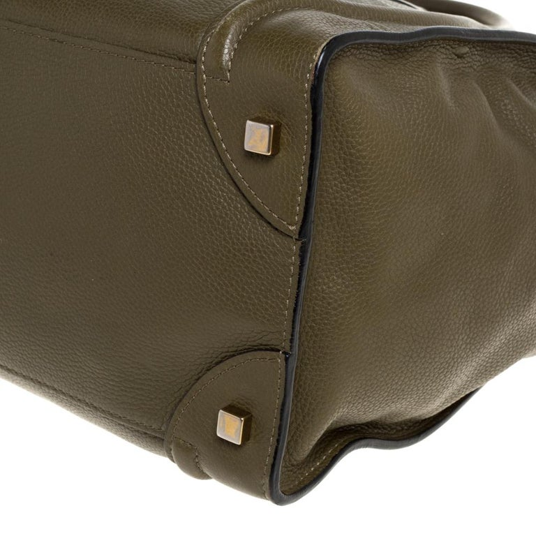 Women's Celine Olive Green Leather Mini Luggage Tote For Sale