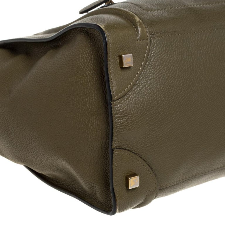 Celine Olive Green Leather Mini Luggage Tote For Sale 2