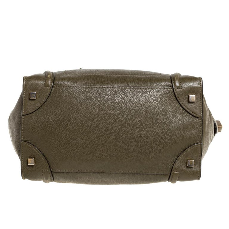 Celine Olive Green Leather Mini Luggage Tote For Sale 3