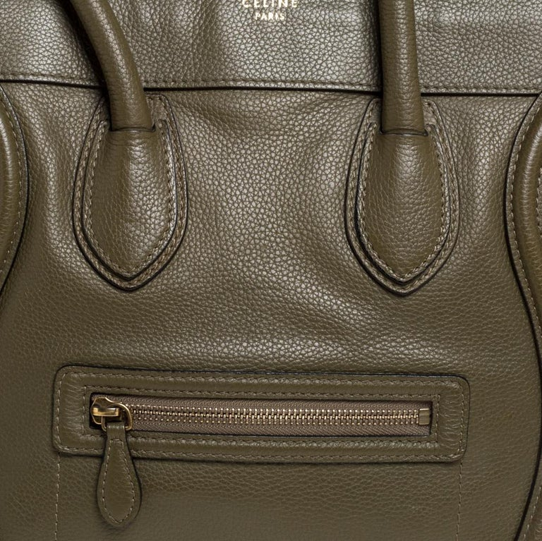Celine Olive Green Leather Mini Luggage Tote For Sale 4