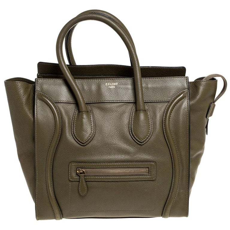 Celine Olive Green Leather Mini Luggage Tote For Sale