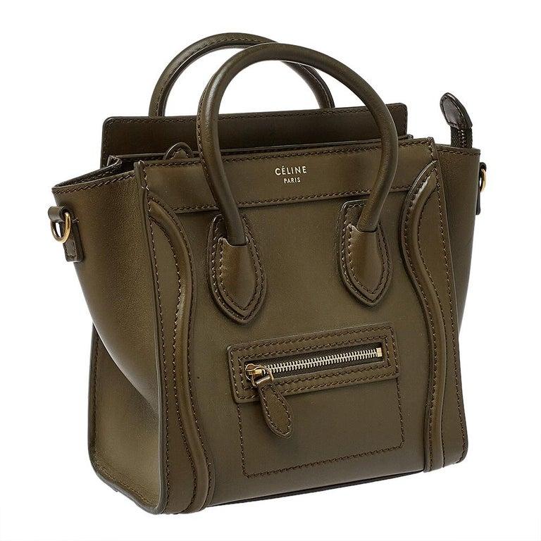 Celine Olive Green Leather Nano Luggage Tote In Good Condition For Sale In Dubai, Al Qouz 2