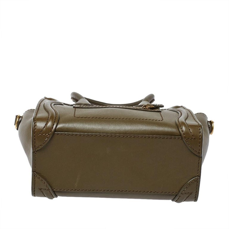 Women's Celine Olive Green Leather Nano Luggage Tote For Sale