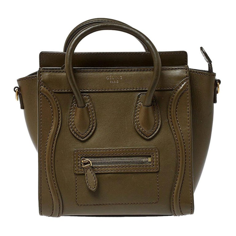 Celine Olive Green Leather Nano Luggage Tote For Sale