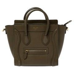 Céline Olive Green Leather Nano Luggage Tote