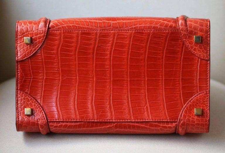 Céline Orange Crocodile Luggage Bag With Gold H/W For Sale 5